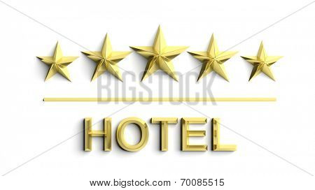 Five golden stars and word Hotel isolated on white