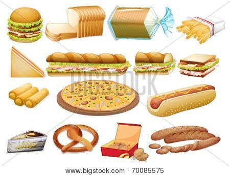 Illustration of a set of food