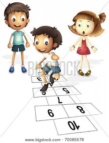 Illustration of children hopping on hopscotch