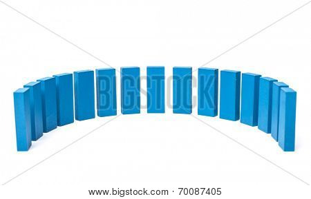 Semicircle out of blue blocks