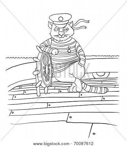 cartoon cat at the helm of the ship, vector illustration