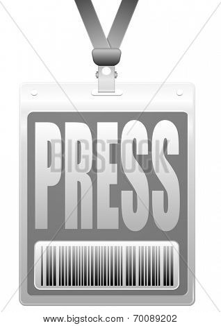 detailed illustration of a plastic press badge with barcode, eps10 vector
