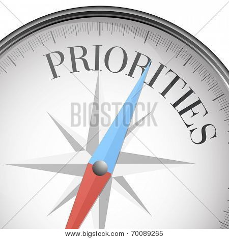 detailed illustration of a compass with priorities text, eps10 vector