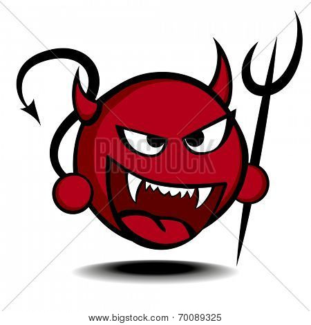 detailed illustration of a stylized red devil with trident, eps10 vector