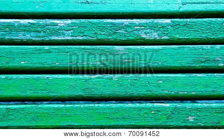 Green Striped Old Wooden Bench Background