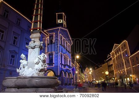 Robba fountain and city hall in Ljubljana, Slovenia, at December night