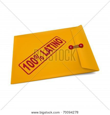 100 Percent Latino Stamp On Manila Envelope