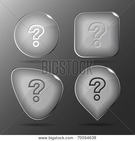 Query. Glass buttons. Vector illustration.