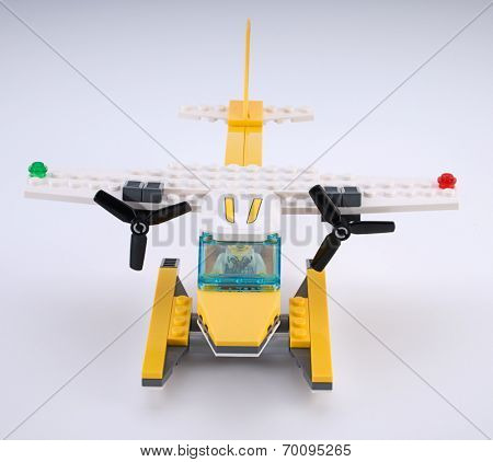 Ankara, Turkey - April 04, 2012: Lego Seaplane on white