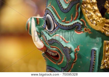 Thai Traditional Mask Used in Thai traditional dance of the Ramayana Saga