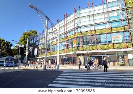 Tokyo, Japan - November 22, 2013: Building around Ueno Park in Tokyo.
