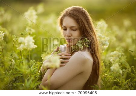 Beautiful Woman Standing In High Wildflowers