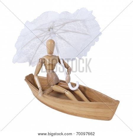 Sitting In A Boat With An Umbrella