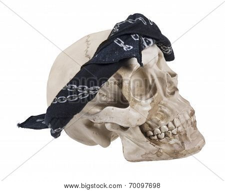 Skull Wearing A Black Bandana