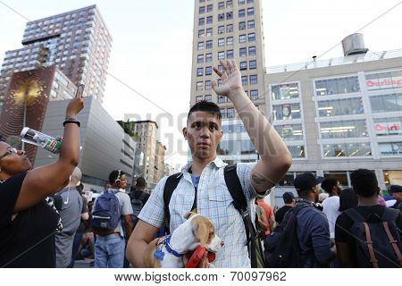 Demonstrator with small dog