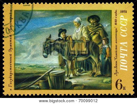 Vintage  Postage Stamp. Milkmaid's  Family, By Louis Le Nain.