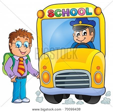 Image with school bus topic 3 - eps10 vector illustration.