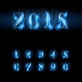 stock photo of arabic numerals  - set of blue fire arabic numbers - JPG
