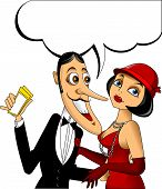 foto of tuxedo  - man in a black tuxedo and a woman in a red dress - JPG