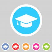 stock photo of graduation hat  - Vector flat graduation cap - JPG