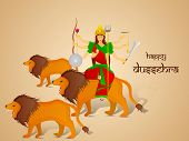 stock photo of sita  - Image of Goddess Durga sitting on her lion with two more lion and give blessing - JPG