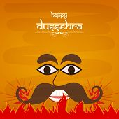 pic of ravana  - Illustration of laughing  Ravana face in comic way with big dark eyes and big black  moustaches  in red fire on a orange shaded background - JPG