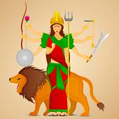 foto of sita  - Illustration of Goddess Durga with her six hands holding weapons in each and on lion - JPG