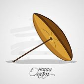 foto of onam festival  - Traditional umbrella in brown color on grey background for South Indian Festival Happy Onam celebrations - JPG