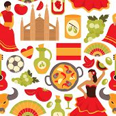 foto of bullfighting  - Spain culture flamenco dance bullfight vine tapas symbols seamless decorative souvenir wrap paper pattern abstract vector illustration - JPG