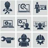 image of heavy equipment operator  - Computer service and Engineering vector icons set - JPG