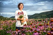 picture of ordinary woman  - Real farmer woman in coneflower field at sunset - JPG
