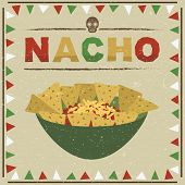 picture of nachos  - mexican styled frame with nachos decoration with transparencies - JPG