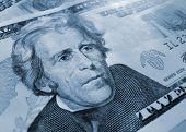 picture of twenty dollars  - Close up of new twenty american dollars - JPG