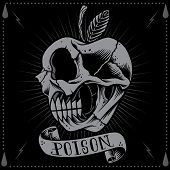 picture of dead-line  - Poison apple in Old school Tattoo Style vector for use - JPG