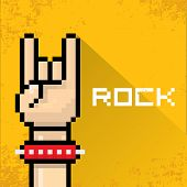 stock photo of rocking  - vector flat pixel art hand sign rock n roll music on on stylish orange grunge background - JPG