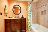 foto of carving  - Warm bathroom interior - JPG