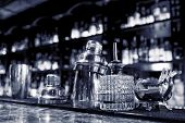 stock photo of bartender  - Bartender tools sitting on bar counter - JPG