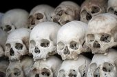 stock photo of catacombs  - human skulls at the killing fields in cambodia - JPG