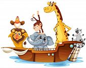 image of noah  - Ilustration of arc aminals on a boat - JPG