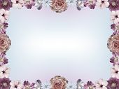 image of sympathy  - Frame with pastel colored flowers and color gradient copy space vintage sympathy card design - JPG