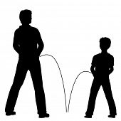 stock photo of urinate  - Editable vector silhouettes of a man and boy urinating together - JPG