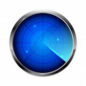 picture of sonar  - Blue radar icon isolated on white background illustration - JPG