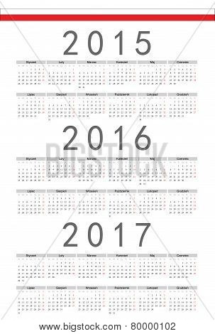 Polish 2015, 2016, 2017 Year Vector Calendar