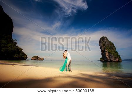 Young Happy Asian Couple On Honeymoon