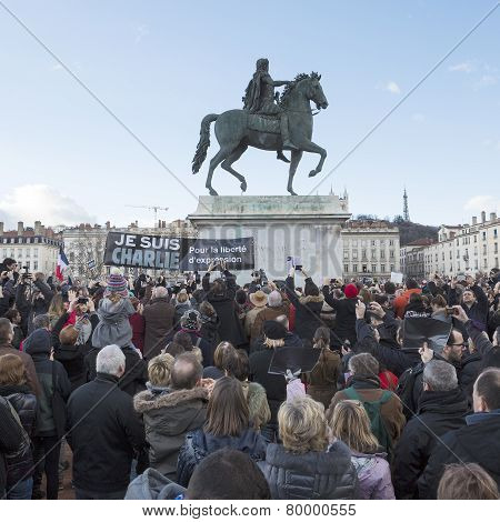 Lyon, France - January 11, 2015: Anti Terrorism Protest. 12