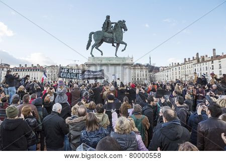 Lyon, France - January 11, 2015: Anti Terrorism Protest. 11