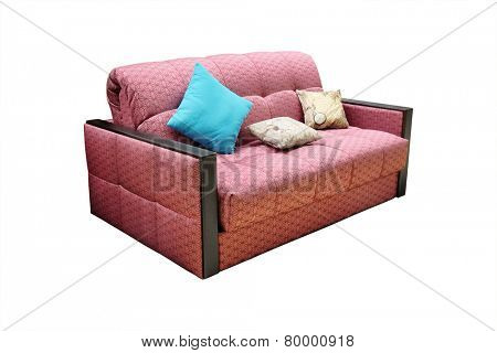 sofa with three cushions isolated under the white background