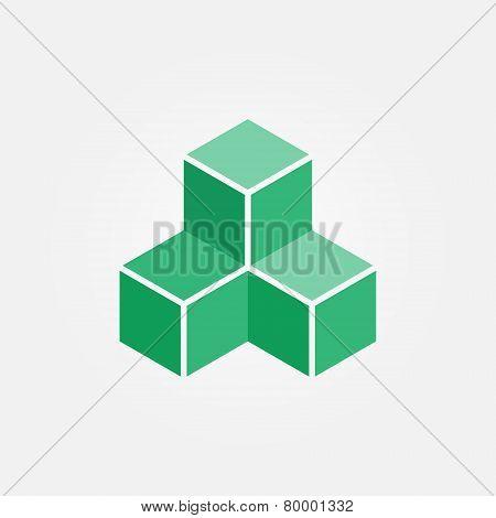 Vector 3d Printing cube geometric logo