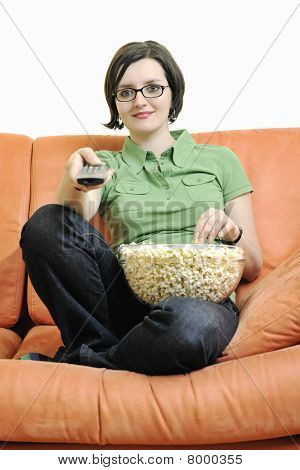 Young Woman Eat Popcorn