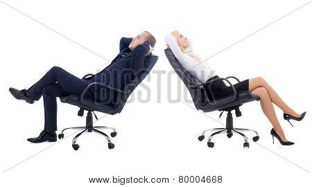 Business Woman And Business Man Sitting On Office Chairs Isolated On White